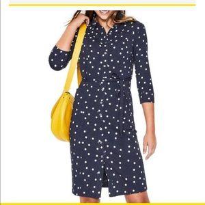Boden Tara Jersey Shirt Polka Dot Dress 2P